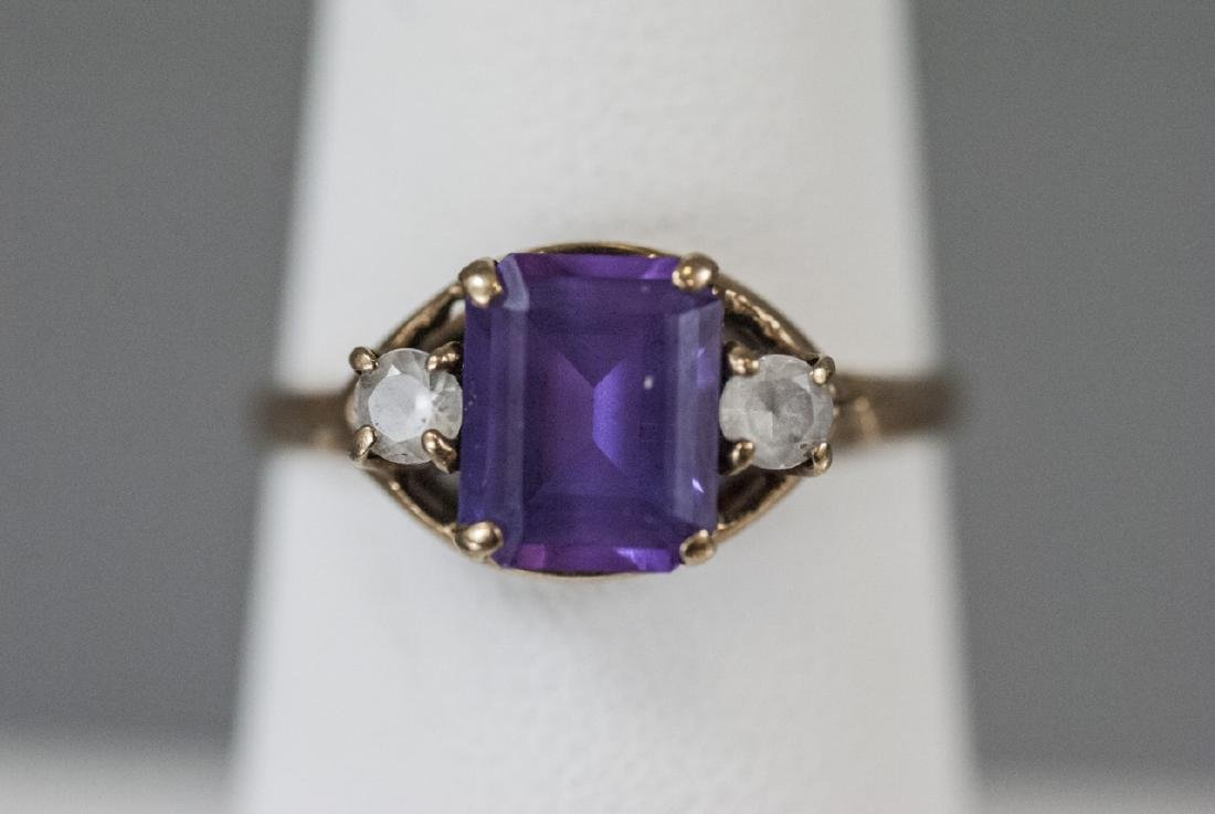 Estate / Antique 10kt Yellow Gold Ring w Amethyst - 3