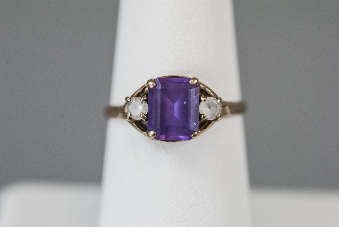 Estate / Antique 10kt Yellow Gold Ring w Amethyst - 4