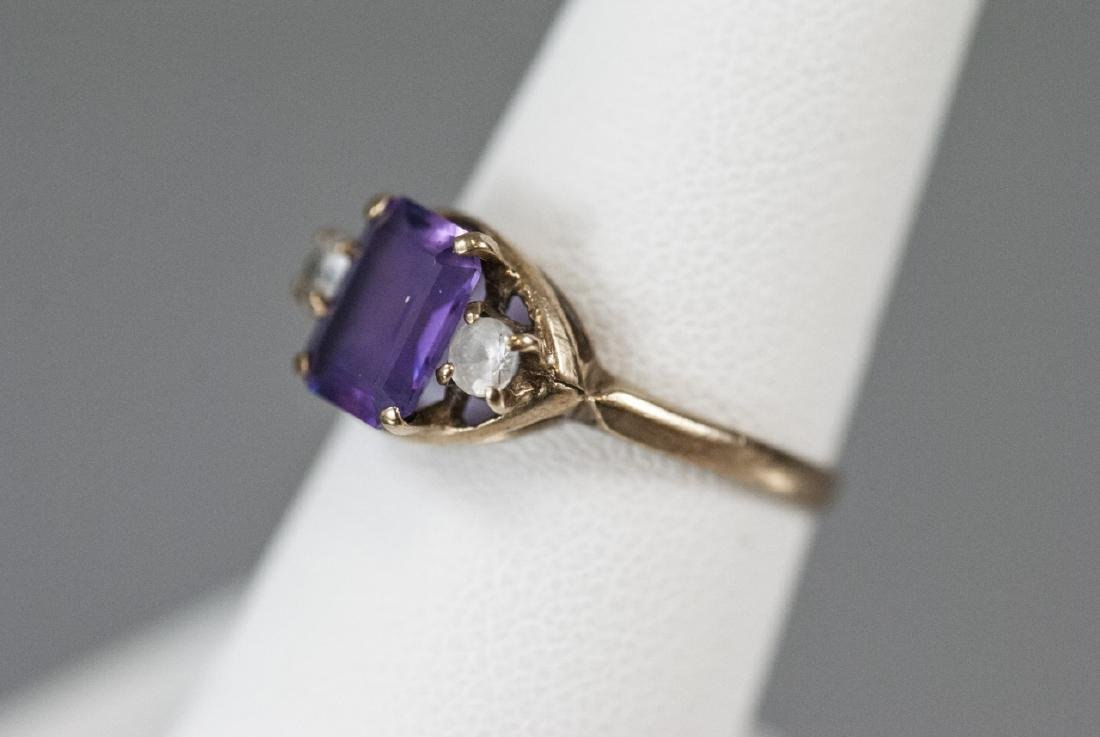 Estate / Antique 10kt Yellow Gold Ring w Amethyst - 5