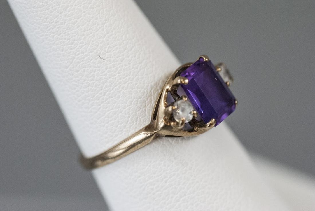 Estate / Antique 10kt Yellow Gold Ring w Amethyst - 6