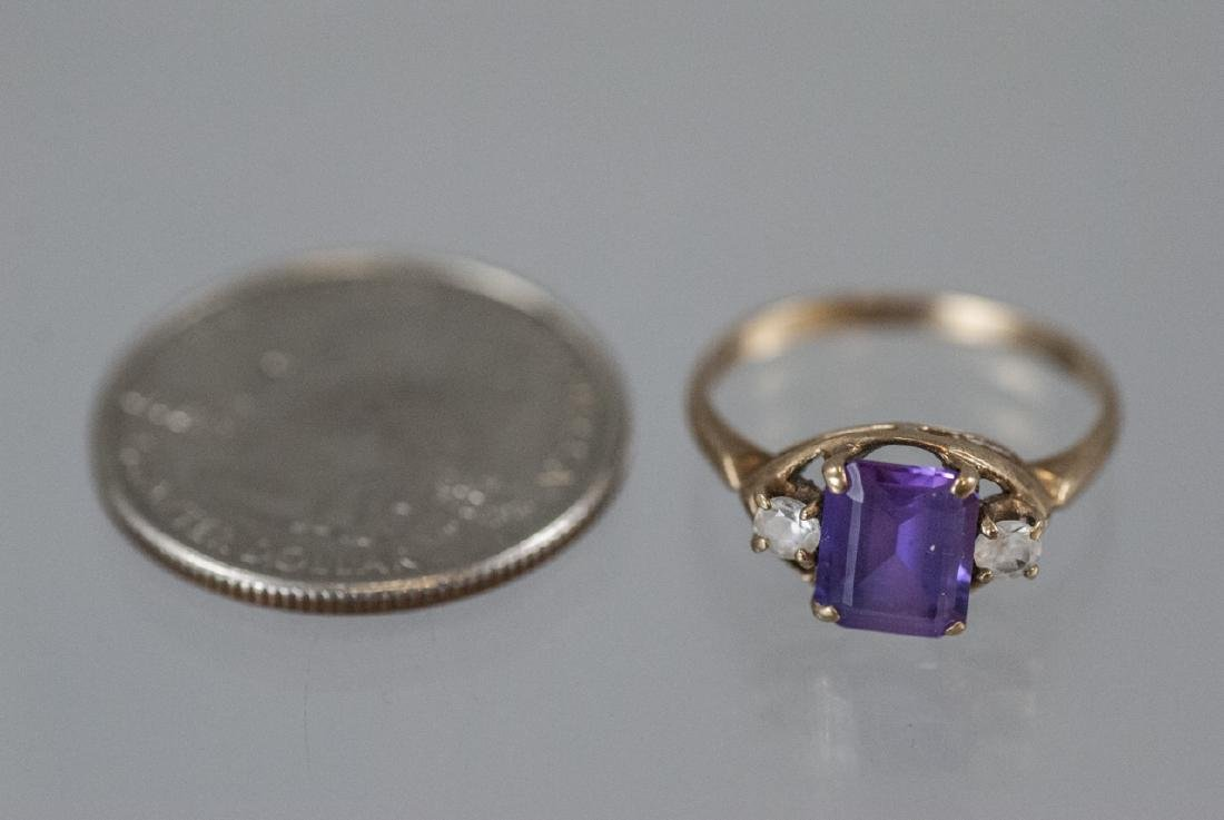 Estate / Antique 10kt Yellow Gold Ring w Amethyst - 8