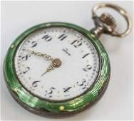 Antique Guilloche Enamel on Silver Pocket Watch