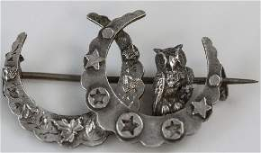 Antique 19th C Sterling Crescent Moon Owl Brooch