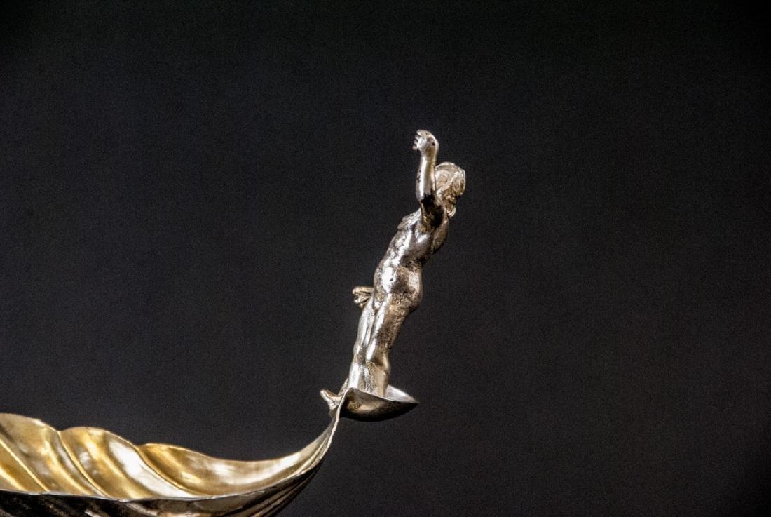 Antique Continental Silver & Gilt Figural Compote - 10