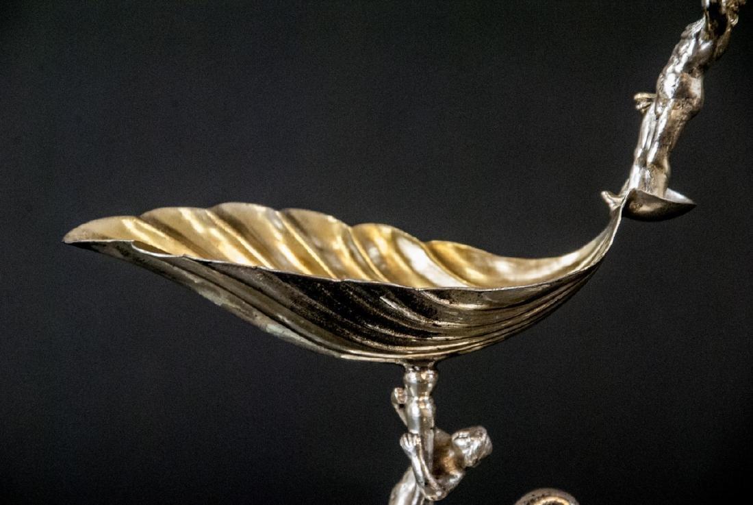 Antique Continental Silver & Gilt Figural Compote - 9