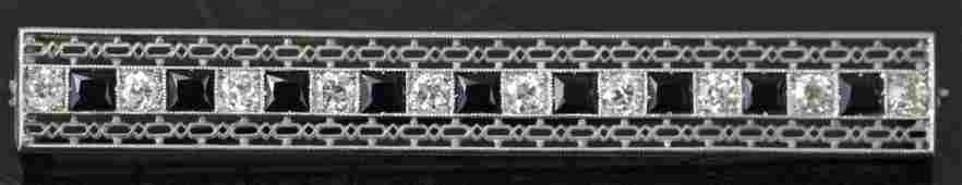 Large Art Deco Dreicer  Co Diamond  Platinum Pin