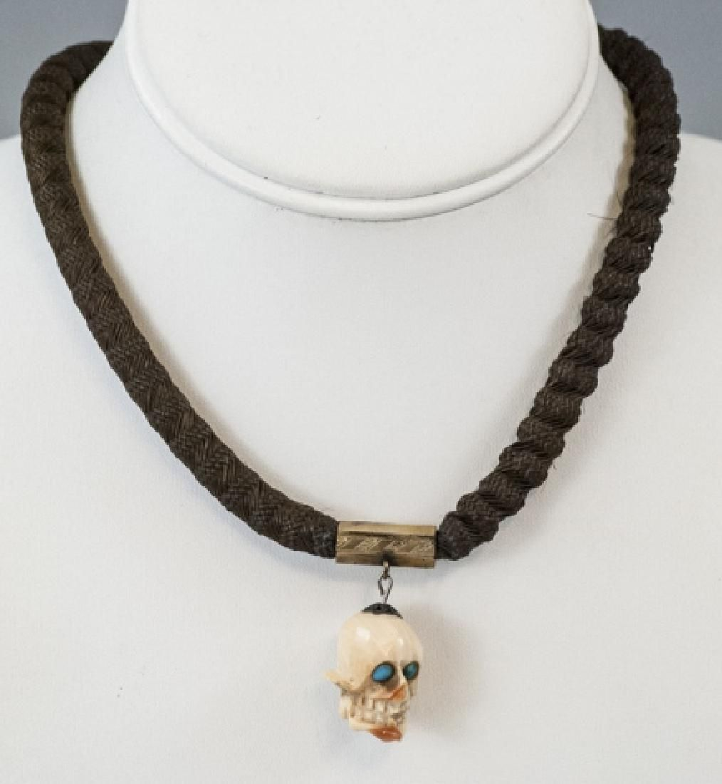 Antique 19th C Mourning Jewelry Woven Hair w Skull