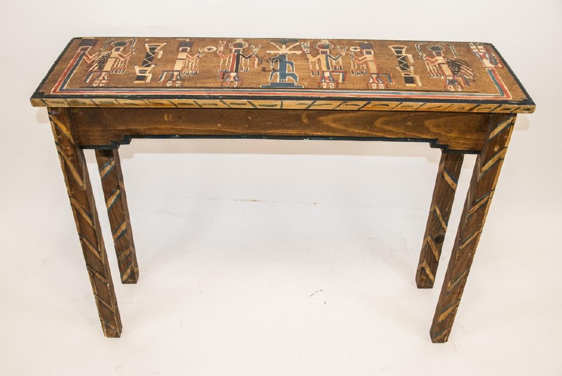 Hand Painted Mayan / Aztec Style Console Table - 4