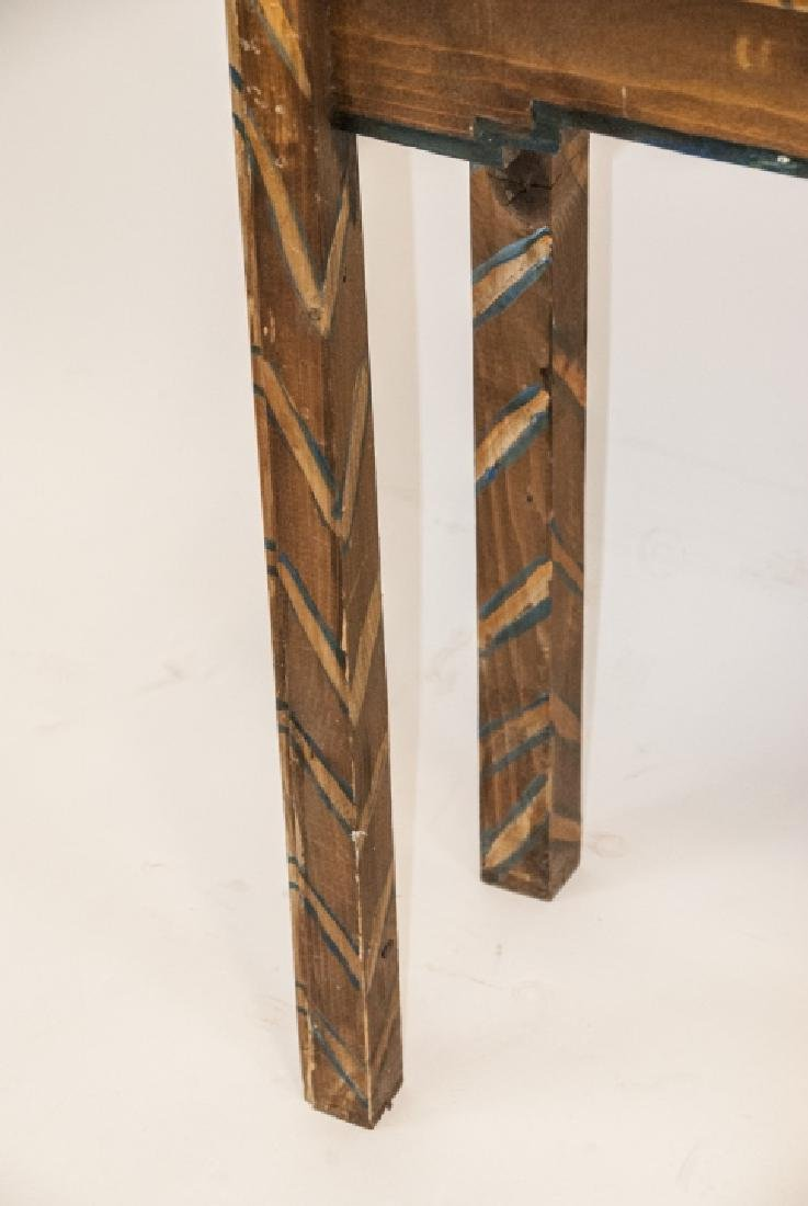Hand Painted Mayan / Aztec Style Console Table - 5