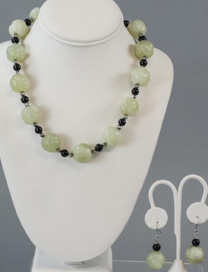 Chinese Necklace & Earrings w Jade & Onyx Beads