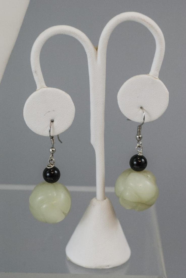 Chinese Necklace & Earrings w Jade & Onyx Beads - 2