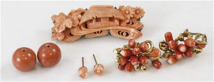 Estate Group of Chinese Carved Coral Jewelry