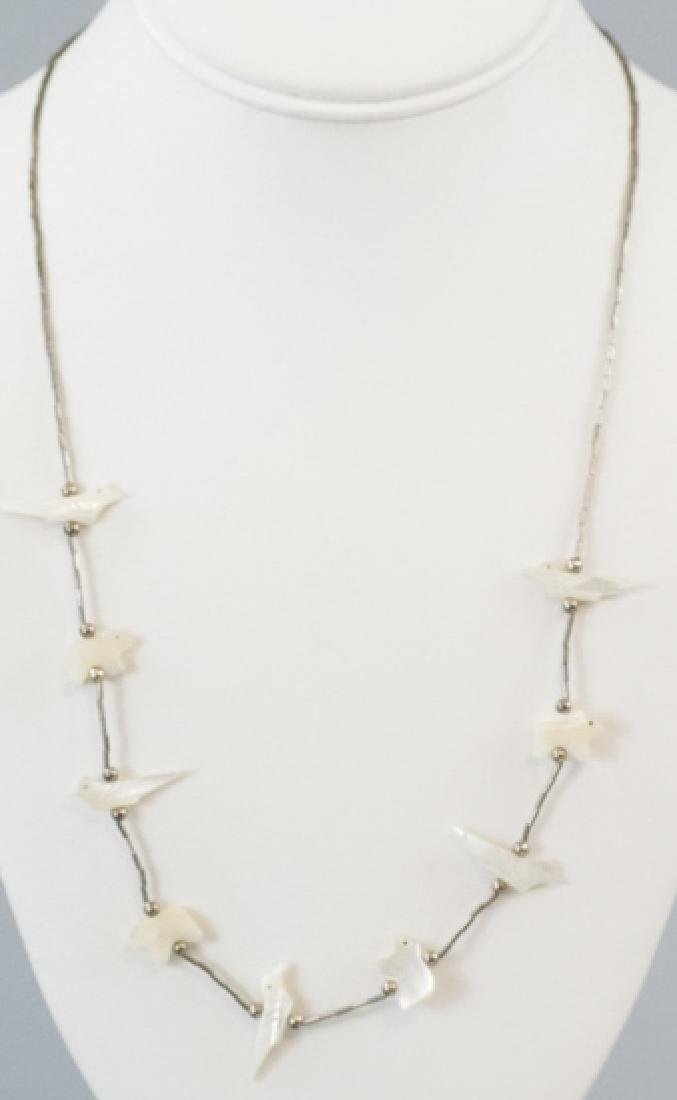 Native American Silver & Shell Fetish Necklace