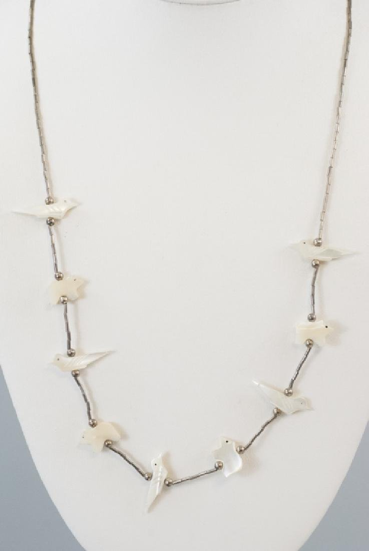 Native American Silver & Shell Fetish Necklace - 4