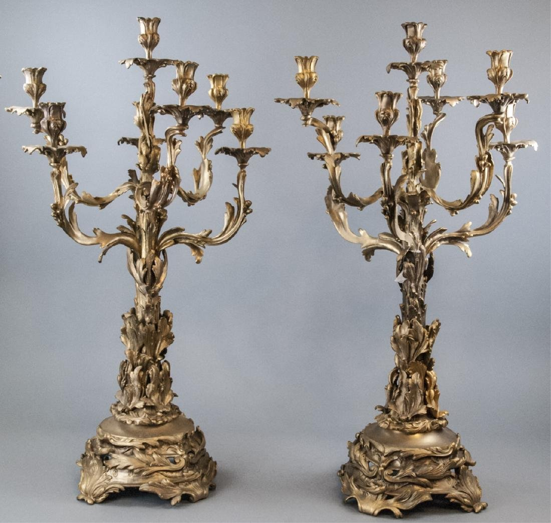 Large French Rococo Style Gilt Bronze Candelabras