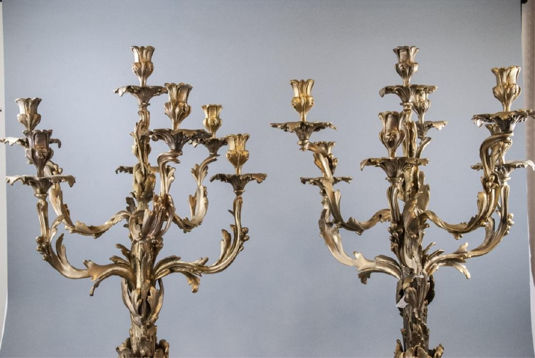 Large French Rococo Style Gilt Bronze Candelabras - 3