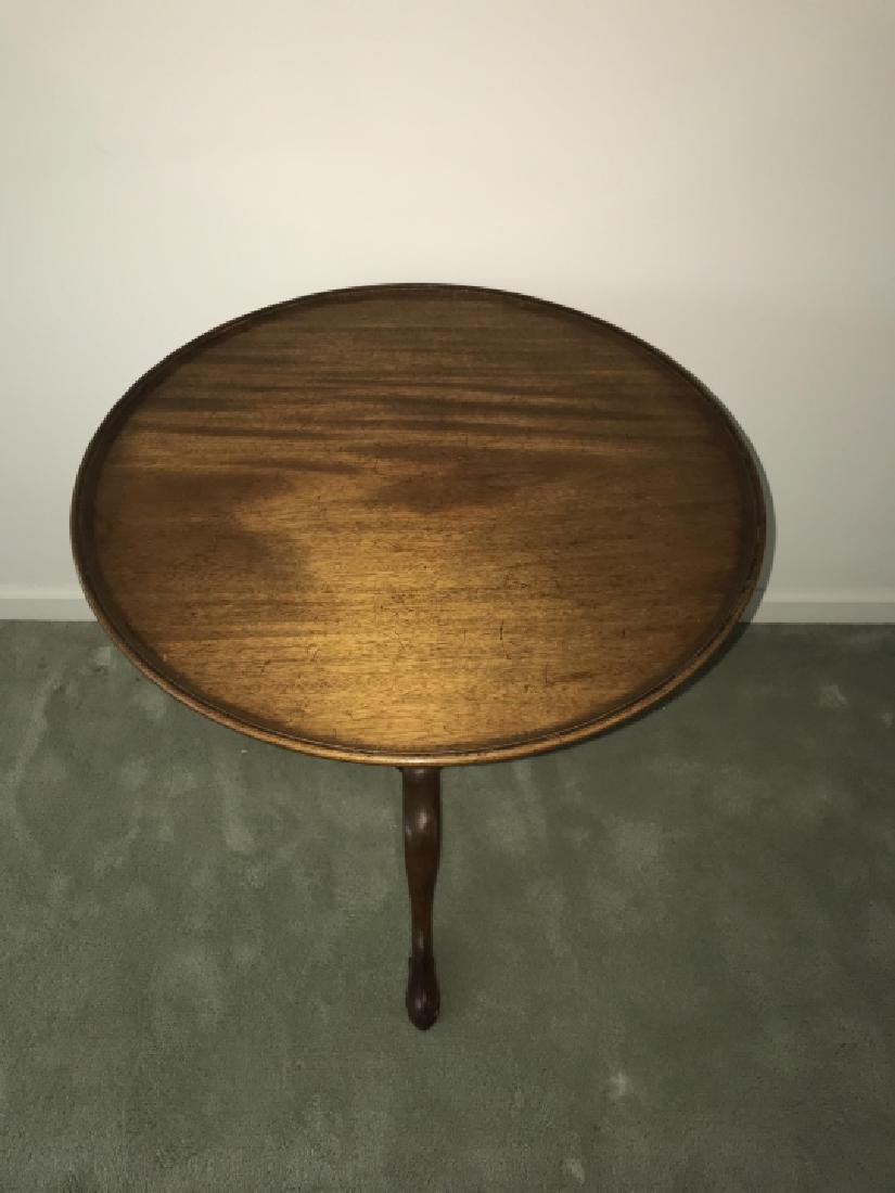 English Chippendale Style Round Pedestal End Table - 3