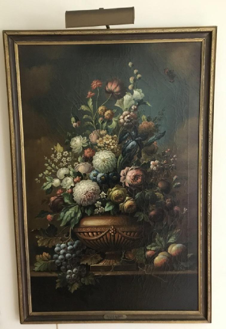 Large Dutch School Still Life Framed Oil Painting
