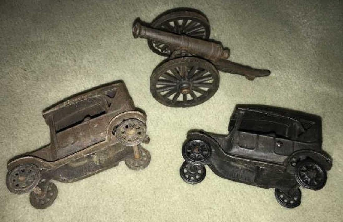 Cast Iron Toys & Blocks - Cars, Cannon & Boxed Set
