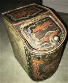 Large Antique 19th C Lithograph Tin Canister Box