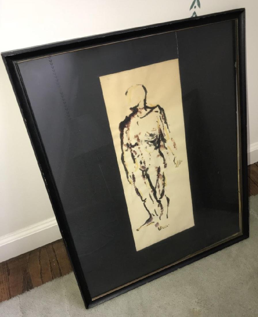 Mid Century Modern Nude Male Watercolor Painting