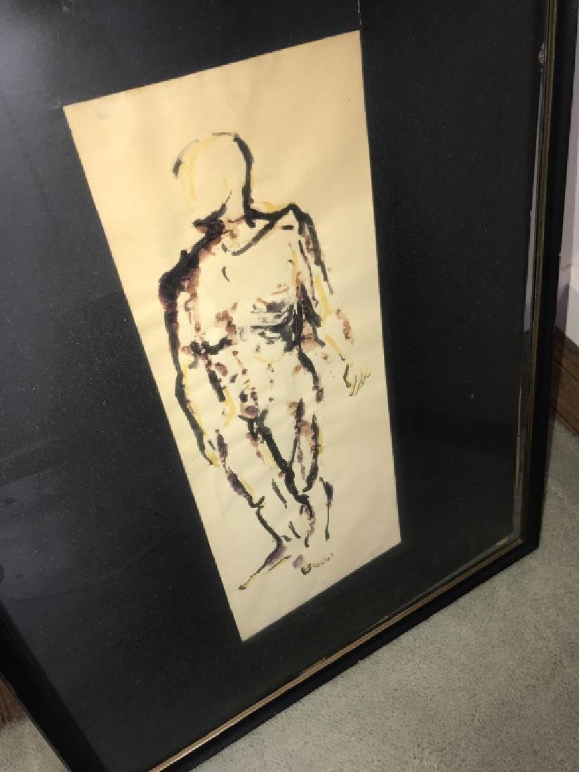 Mid Century Modern Nude Male Watercolor Painting - 2