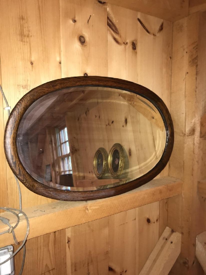 Carved Antique Oval Frame Beveled Glass Mirror - 2