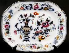 Large Antique 19th C English Flow Blue Platter