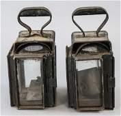 Pair Antique Cast Iron Railroad Lanterns