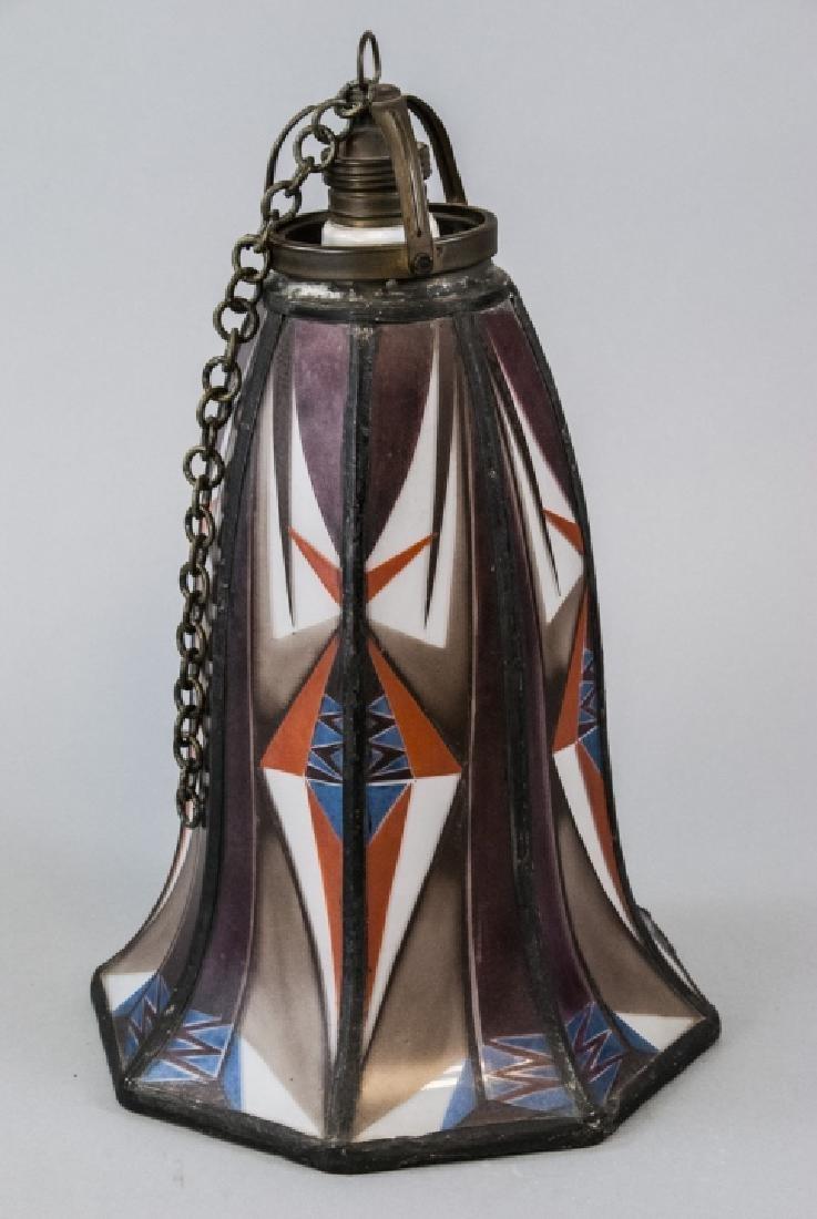 Art Deco Painted Glass Pendant Lamp Shade