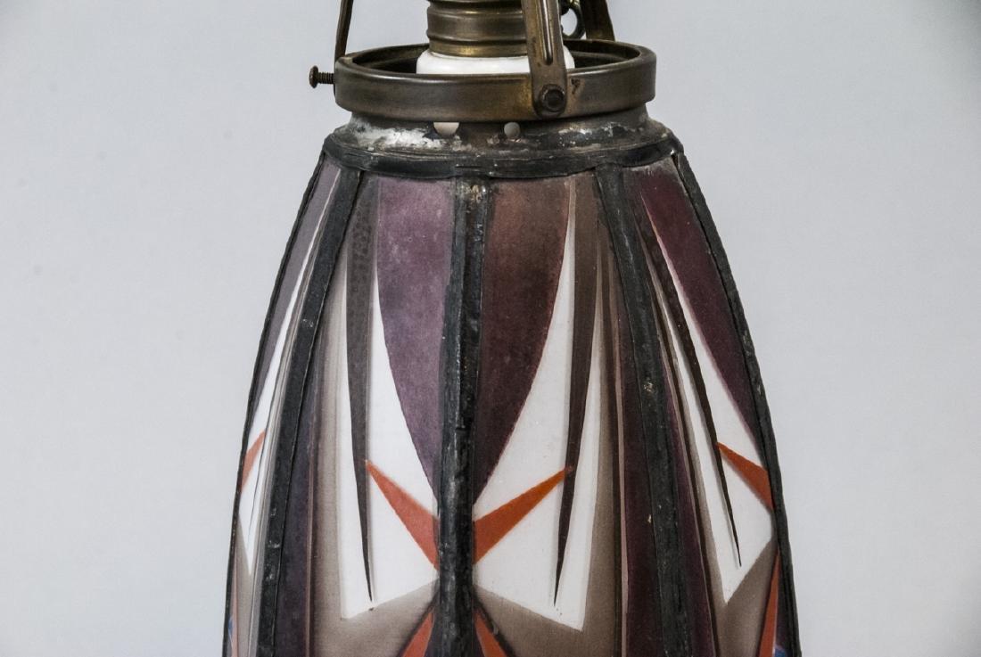 Art Deco Painted Glass Pendant Lamp Shade - 2