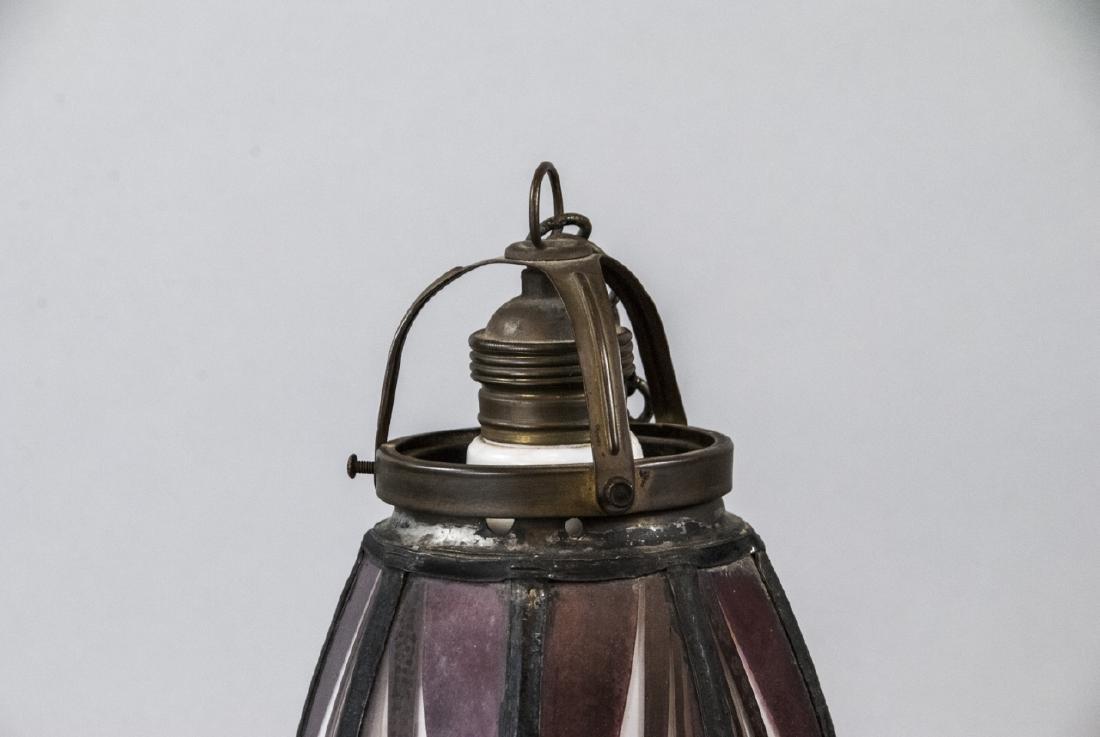Art Deco Painted Glass Pendant Lamp Shade - 3