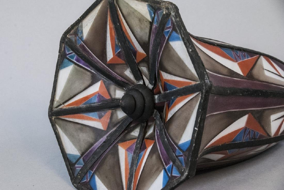 Art Deco Painted Glass Pendant Lamp Shade - 5