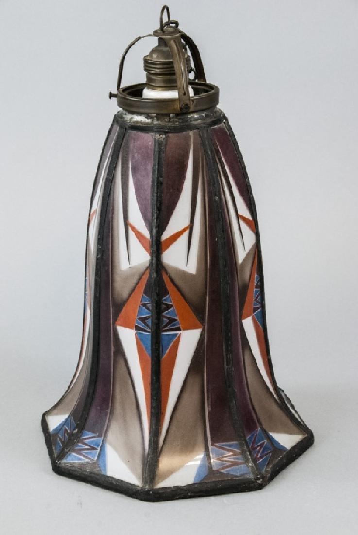 Art Deco Painted Glass Pendant Lamp Shade - 6