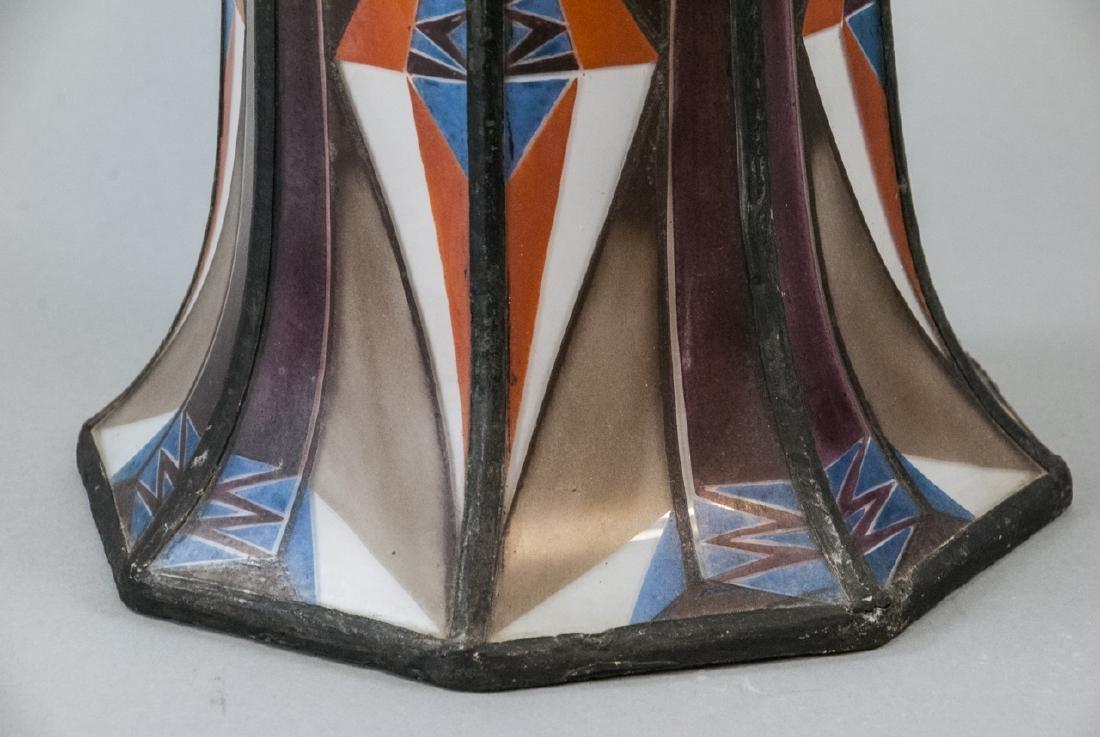 Art Deco Painted Glass Pendant Lamp Shade - 7