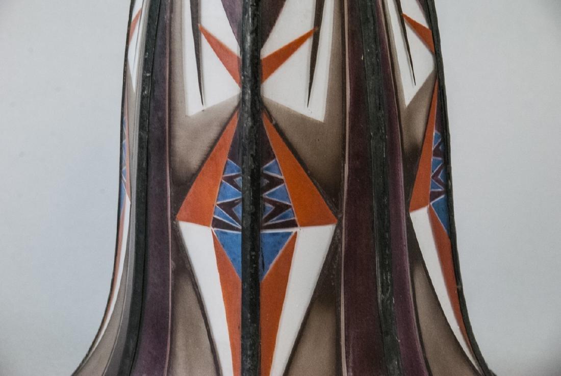 Art Deco Painted Glass Pendant Lamp Shade - 8