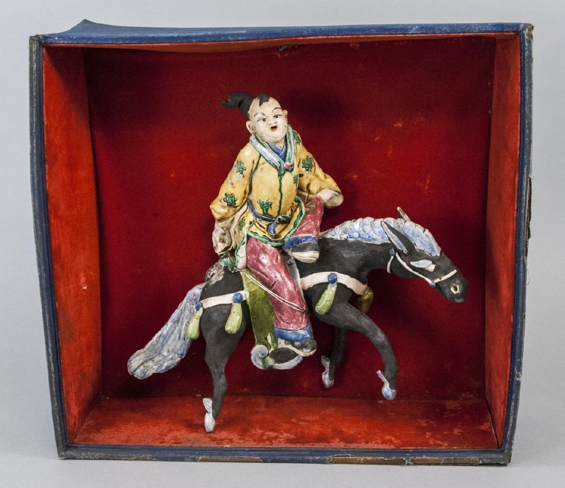 "Vintage Chinese  ""Mud Man"" Warrior Statue on Horse"