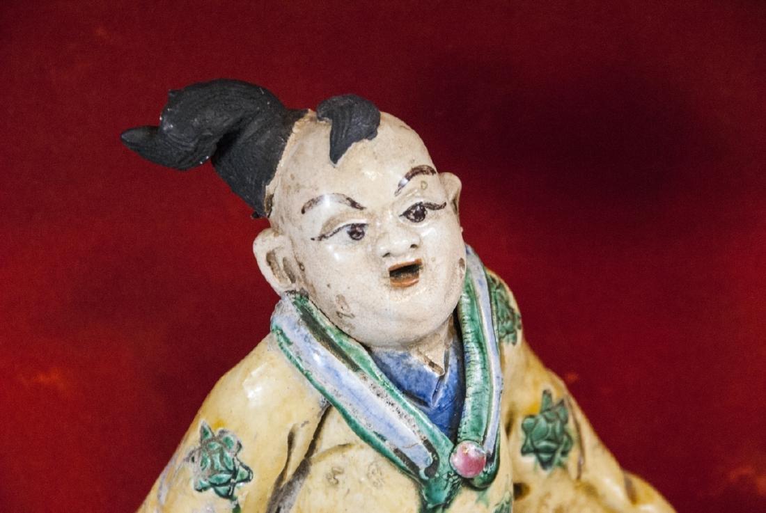 "Vintage Chinese  ""Mud Man"" Warrior Statue on Horse - 7"
