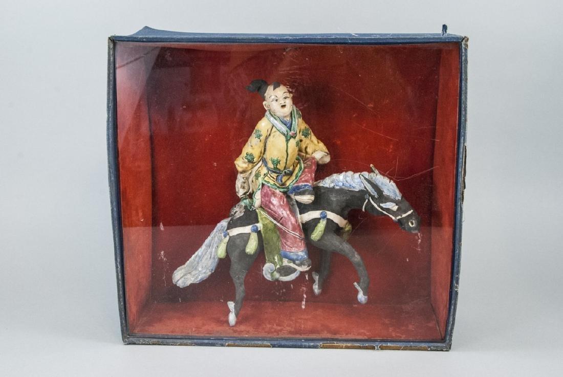 "Vintage Chinese  ""Mud Man"" Warrior Statue on Horse - 8"