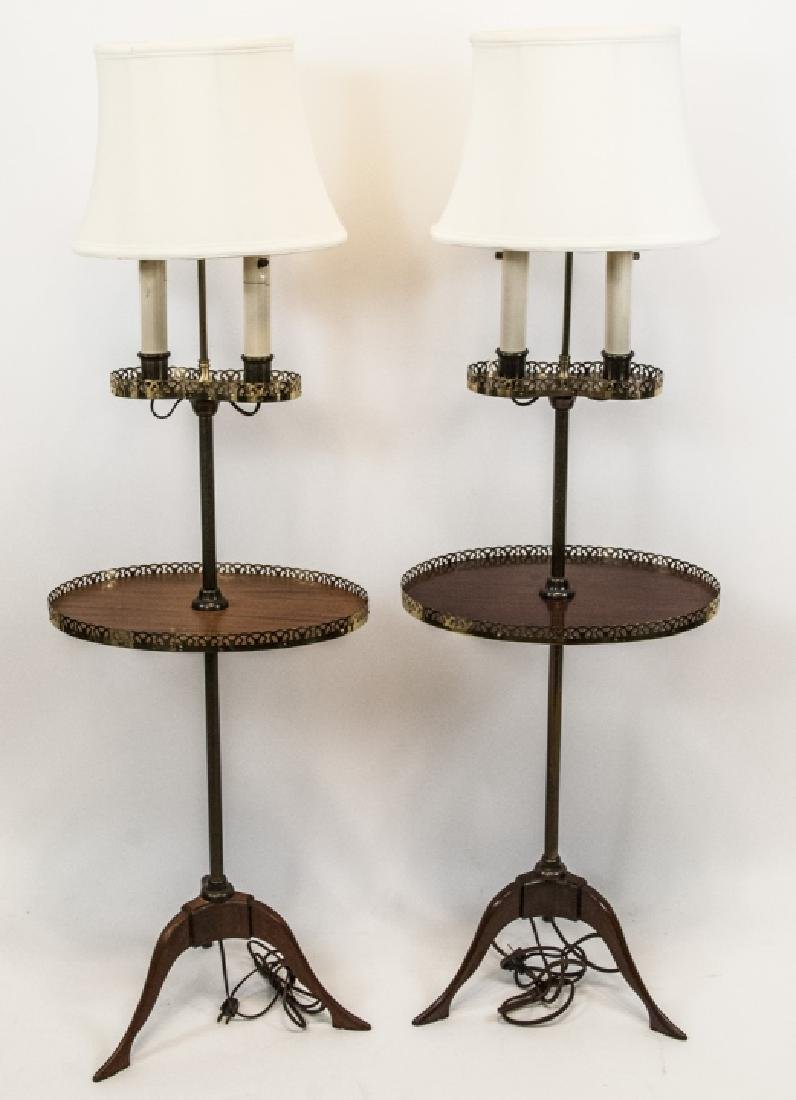 Pair Mid C Traditional Style Standing Floor Lamps