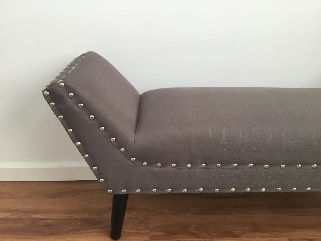 Contemporary Mauve Upholstered Bench W Nail Head - 3