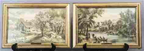 2 Currier  Ives Framed Landscape Scene Prints