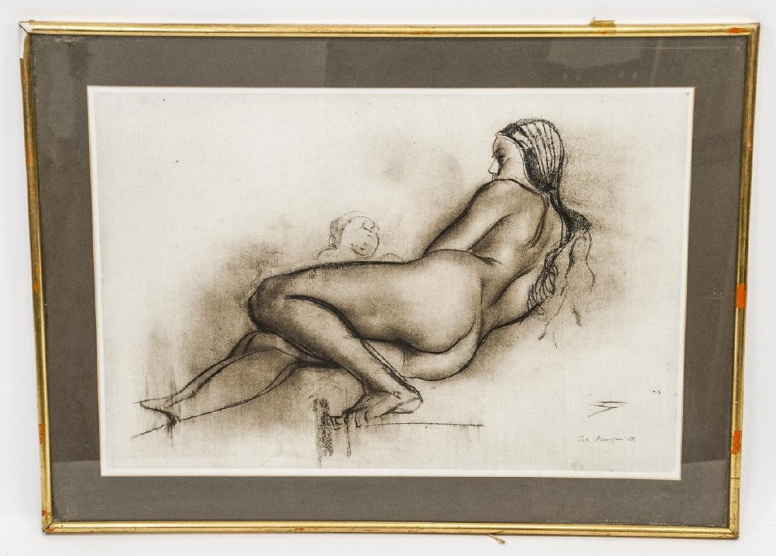 Framed Print of Charcoal Reclining Nude