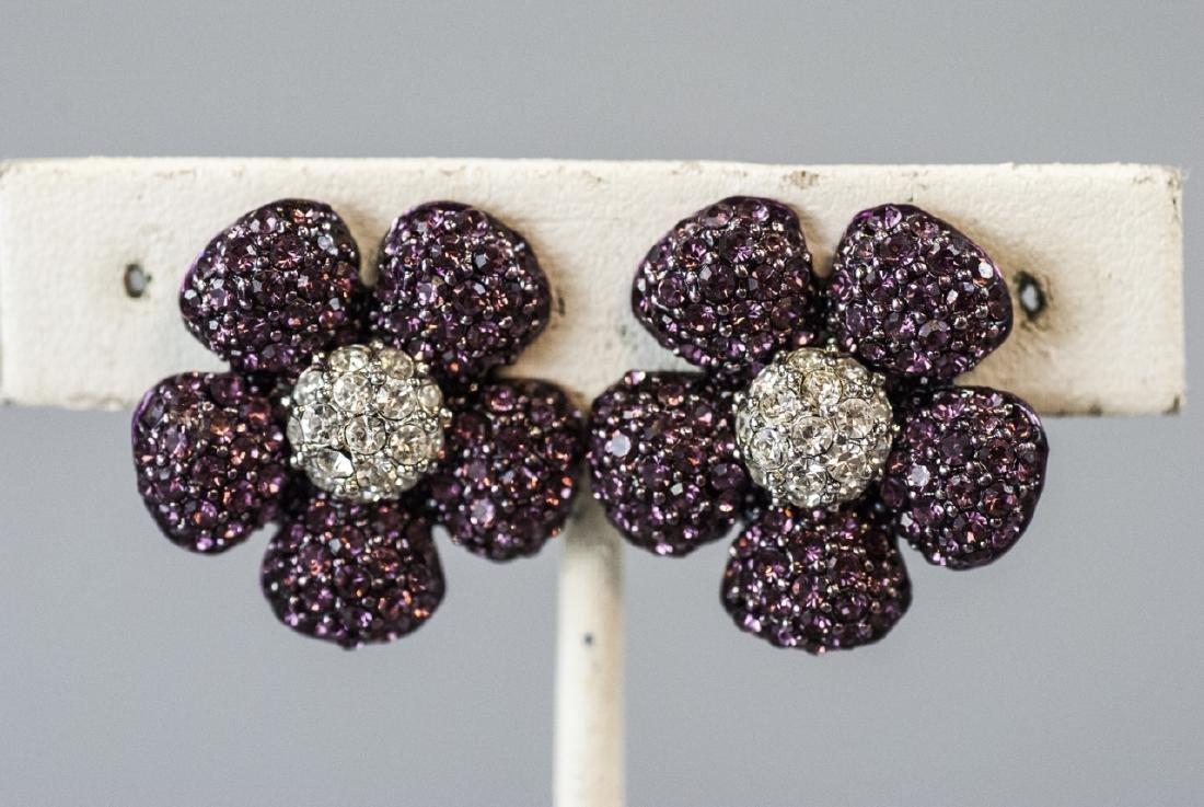 Costume Jewelry Faux Diamond & Ruby Earrings