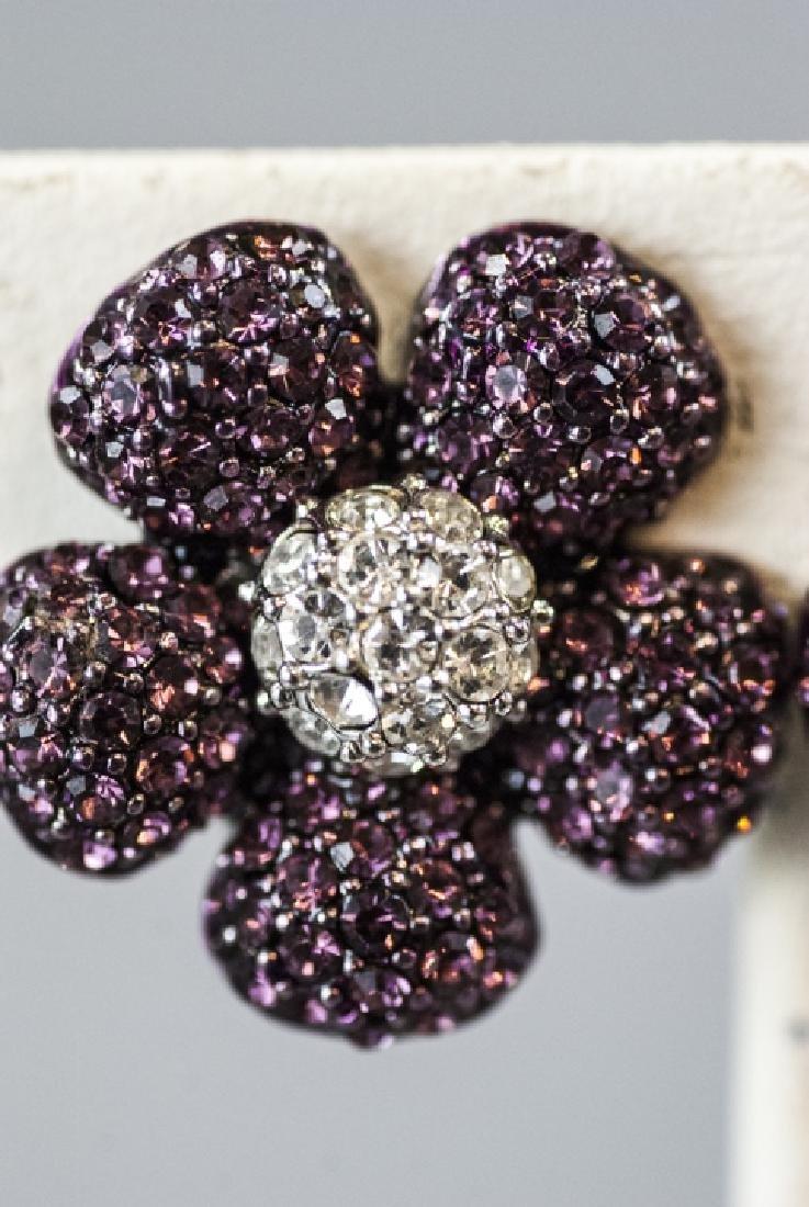 Costume Jewelry Faux Diamond & Ruby Earrings - 3
