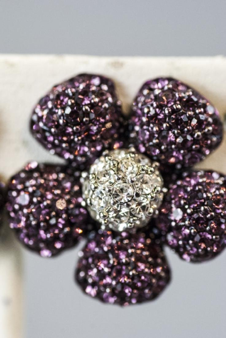 Costume Jewelry Faux Diamond & Ruby Earrings - 4
