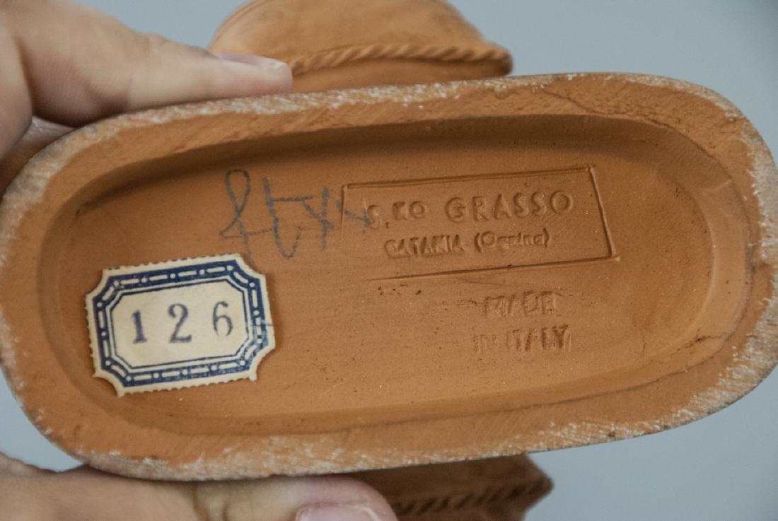 Signed Grasso Handmade Terracotta Statue - 3