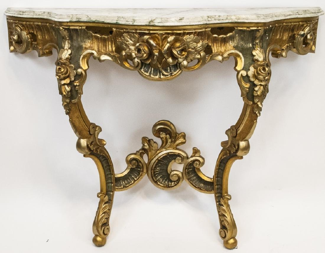 French Rococo Gilt + Faux Marble Top Wall Console