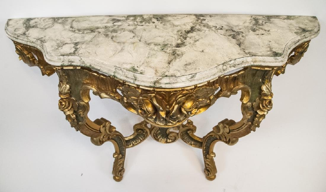 French Rococo Gilt + Faux Marble Top Wall Console - 2