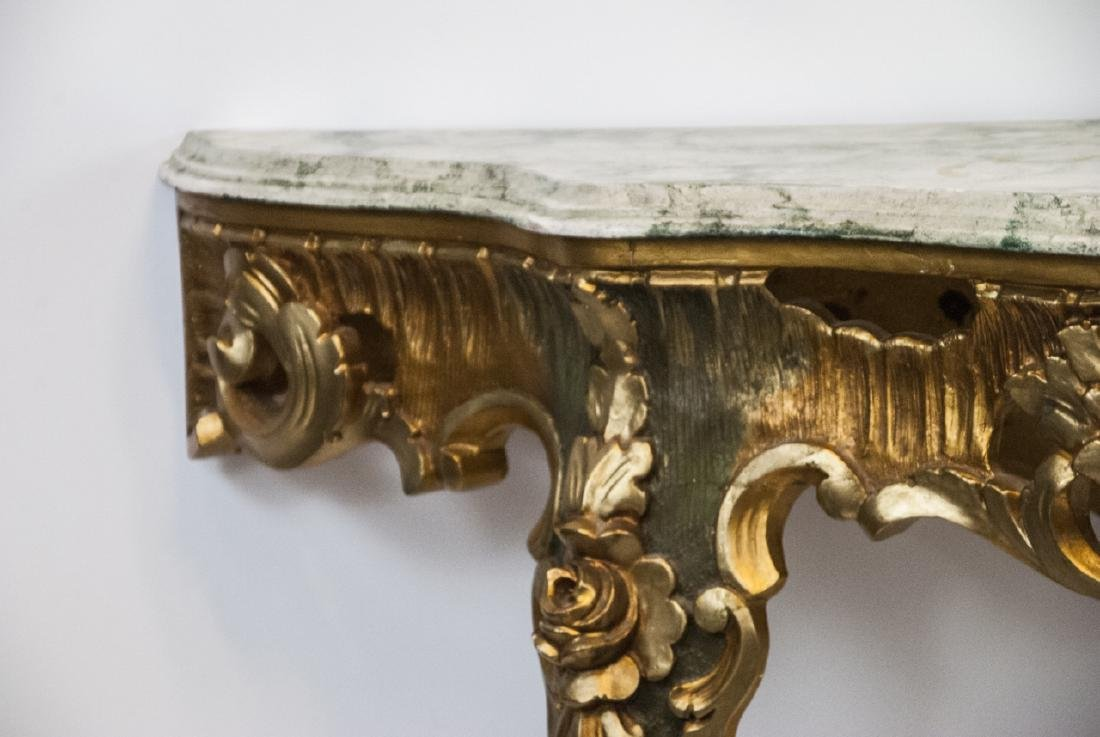 French Rococo Gilt + Faux Marble Top Wall Console - 5